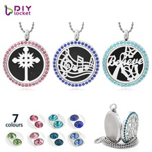 16 Style Aromatherapy Locket Necklace 316L Stainless Steel Essential Oil Diffuser Perfume Pendent Necklace Jewerly For Women(China)