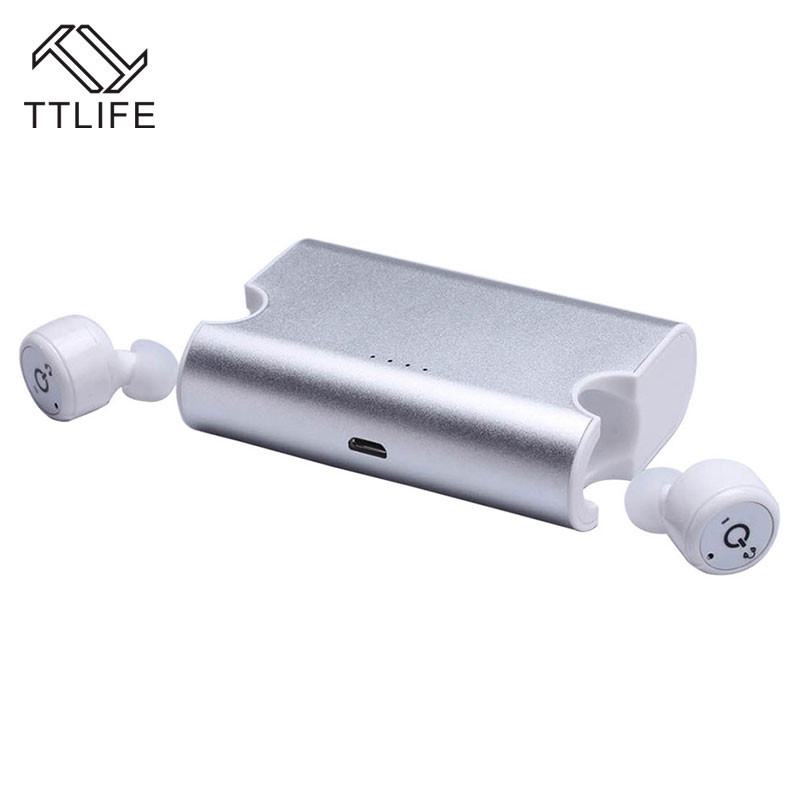 TTLIFE TWS Bluetooth Earbuds Business Earphone Wireless V4.2 Stereo Hands Free Sweatproof Headphone with Mic Charging Box<br>