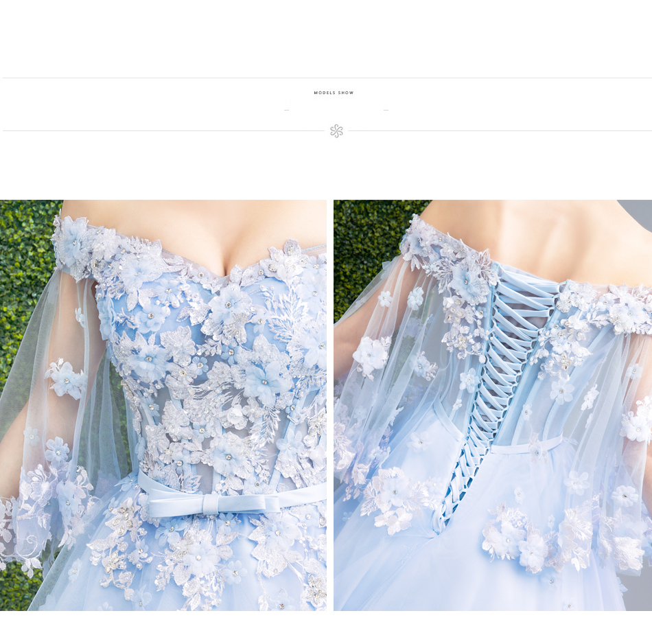 Angel Wedding Dress Marriage Bride Bridal Gown Vestido De Noiva Fairy, blue, handmade petals 2017 257 22