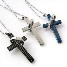 Fashion Jewerly New 3 Colors Stainless Steel Necklaces Men/Brand Prayer Cross Men Pendant Necklaces(China)