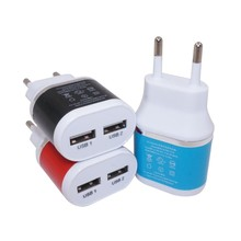 5V 2.1A Dual USB Wall Travel Charger Adapter with Europe EU/US Plug for iPhone/ Android Smartphones/Tablets(China)
