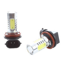 2x White Xenon H11 High Power COB LED Projector Bulb Fog For Car Driving Light(China)