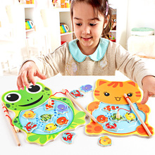 Baby Kids Magnetic Fishing Toys with Rod Cartoon Frog Cat Fishing Game Board Wooden Jigsaw Puzzle Educational Toy Gift(China)