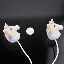 10pcs/lot Special Unicorns Cute Girl Eeadphones Colorful Rainbow Horse In-ear Earphone 3.5mm Earbuds With Mic For Smartphone