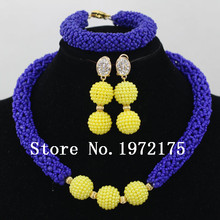 Royal blue crystal Necklace Set Native American Indian Yellow ball bead Jewelry Set  Free Shipping CR0053