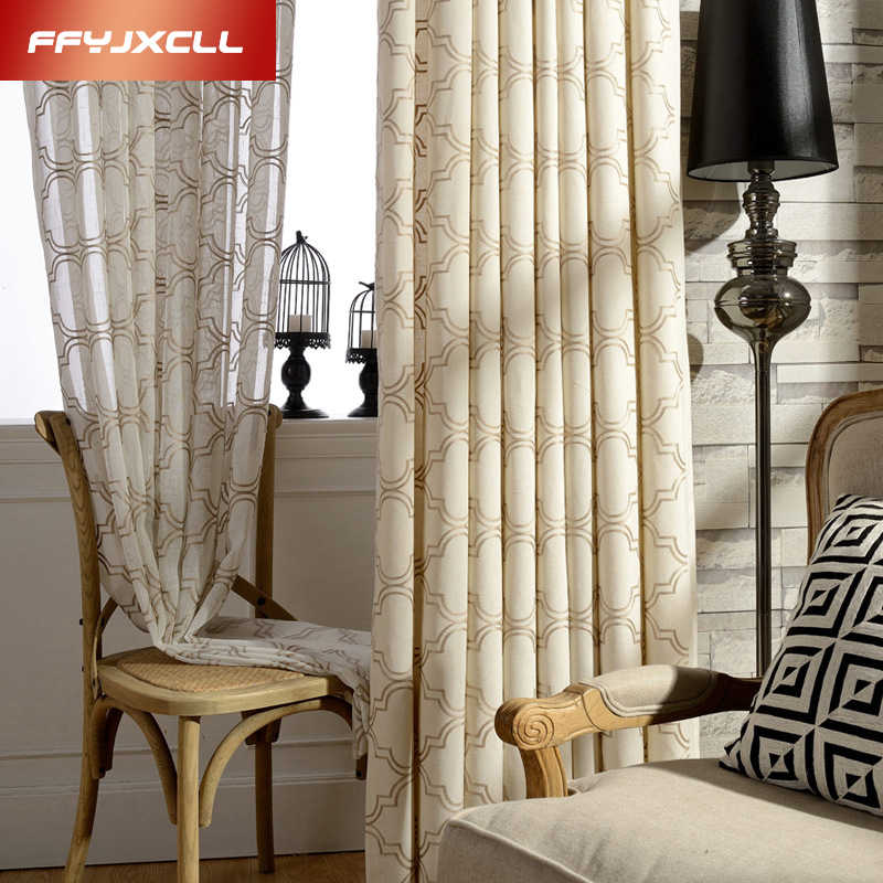 Geometric pattern American Style Embroidered blackout curtain for kitchen living room the bedroom finished blinds tulle for wind