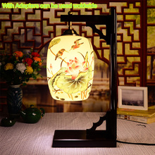LED E27 220V 110V Antique Bedroom Table Lamps With Ceramic Shade Wooden Desk Lamp Reading Desk Light(China)