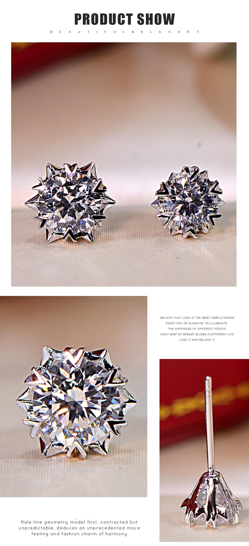 U Lex Women Earrings Real 925 Sterling 5A High Carbon Diamond