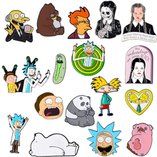 Série animée! Collection de bande dessinée Rick Morty Trois Ours Hey Arnold Simpson Futurama Philip J. Fry Addams Émail Broche Broches(China)
