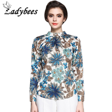 LADYBEES 2017 Autumn Women Chiffon Blouse Silk High Quality Tops Floral Printing Shirts Zipper Plus size Boho blusas vintage(China)