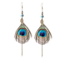 Original vintage Accessories peacock feather Water drops tassels single earring Ethnic statement jewelry bohemian dangle earring(China)