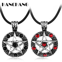 Popular Television Serie Jewelry Collier Supernatural Dean Invert Pentagram Pendant Rope Rhinestone Necklace for Women Men