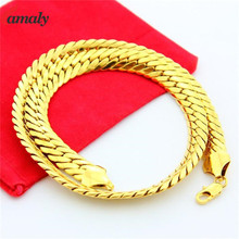 Real 18K Solid Yellow Gold Filled Men's Cuban Link Chain Necklace Size 20'' inches 10MM Flat Chains Gold-tone Necklace Choker