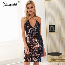 Buy Simplee Strap halter sequin mesh black women dress Deep v neck backless sexy dress Bodycon short party dress 2018 autumn winter