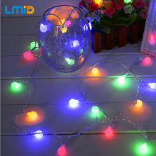 LMID Colorful LED Battery Christmas Lights AA Battery Operated Fairy Ball Party Holiday Garland Flashing Bulb String Light(China)