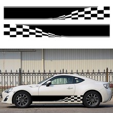 2x Checkered Flag (one for each side) Auto Graphic Decal Vinyl Car Truck Mini Body Racing Stripe Sticker