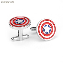 Movie Captain America Cufflinks Red Color Fashion Novelty Superhero Design Round Resin Cuff Links Button Free Shipping