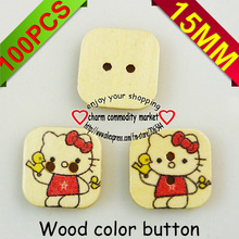 hello kitty SQUARE button  painting  wooden flower buttons for sewing garment  fit craft MCB-516