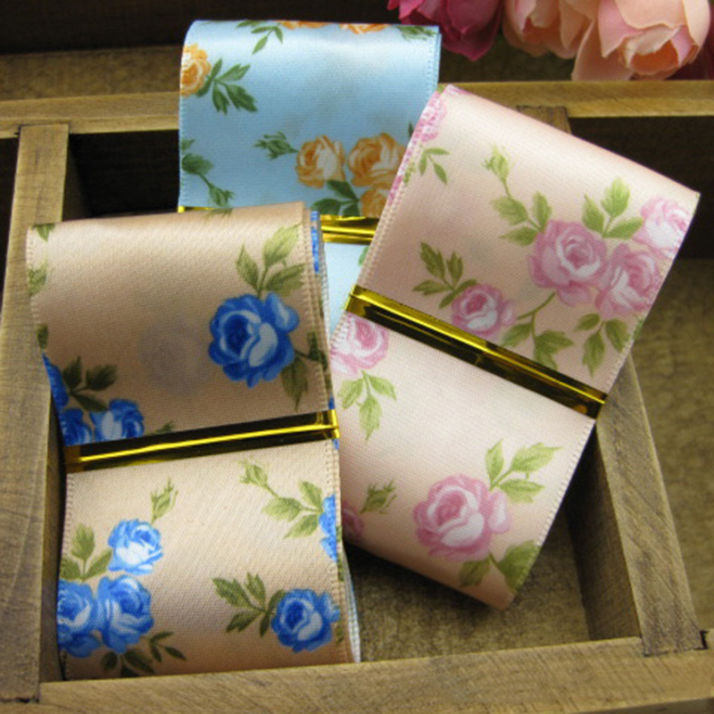 5meter/lot Print Rose Pattern 38mm Polyester Ribbon Handmade Bow DIY Accessories Floral ethnic ribbon T-012