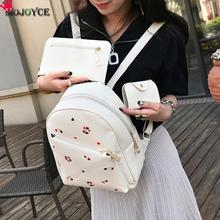 Lovely Heart Embroidery Backpack 3PCS Women Bag Set PU Leather Travel Backpacks Rucksack Preppy Style School Pack Bags