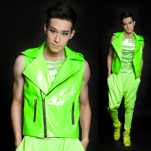 HOT !! Ds fashion men's brand stage singer clothing male neon green super motorcycle vest men's clothing costume coat / XS-XXL(China)