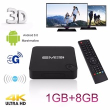 4K EM95X Portable Smart TV BOX Smart Set Top Box 1/2G RAM+8/16G ROM Quad Core H265 WIFI 3G 3D Media Player For Android 6.0