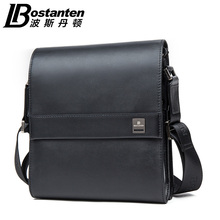 Bostanten New Style Black Genuine Cowhide Real Leather Business Formal One Shoulder Messenger Crossbody Bags for Mens 2016