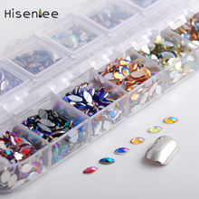 Hisenlee About 1700pcs 12Color/Box Horse Eye Design Acrylic Glitter Rhinestones Manicure Tips For Charms 3D Nail Art Decorations(China)