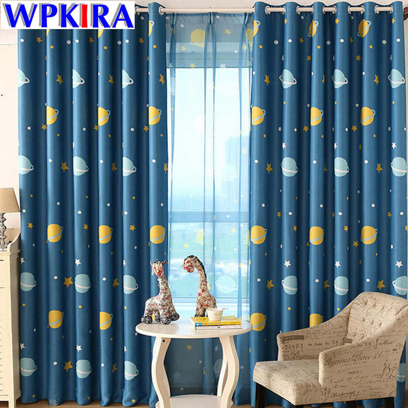 Cartoon Blue Planets Curtains Living Room Custom Made Blackout Kids Children Cloth Fabric For Boys Bedroom Curtain WP355-30