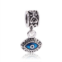 EVERYSHINE Vintage Turkey eye shape charm Big Hole party Pendants DIY Jewelry Accessories beads Fit Bracelet necklace JPP319(China)