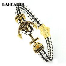 2017 Fashion Accessories Bracelet Men's Jewelry Shiny Inlay Gold Hook Up Cortex Popular Rope Chain Bangles & Bracelets DKS-BR090(China)
