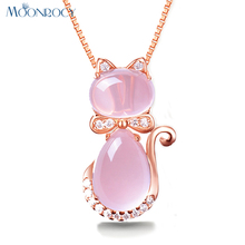 MOONROCY Free Shipping Rose Gold Color Cute Cat Ross Quartz Pink Opal Jewelry Necklace for Women Girls Children Gift Choker(China)