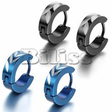 Hot Punk Men's Stainless Steel Small Hoop huggie Earrings Charm Wheat Pattern 12mm Blue/ Black Selection Men Jewelry(China)