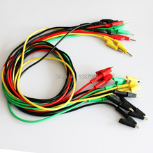 5 color options High Quality Double alligator clip wire High voltage Test lead Silicone wire Test Leads 100cm 10pcs/lot
