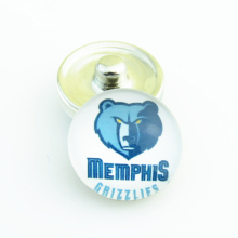 20pcs/lot Fashion Basketball NBA Memphis Grizzlies Snap Button Sports Charms for DIY 18mm Snap Bracelet Jewelry