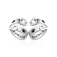 Hot European dog cat claws rings  Cute dog cat paws rings for women I will love you forever heart cat Dog claws rings best gift