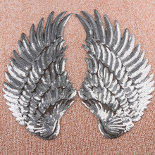 1 Pair Sequins Patch DIY Silver/Gold Angel Wings Patches Sew-on Embroidered Patch Cool Clothes Accessories