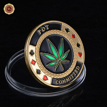 WR  POT Committed Metal Poker Chip Casino Challenge Gold Coin Lucky Souvenir Personalized Coin Gift for Men Father Collection