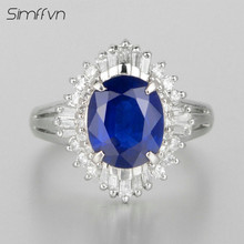 Simffvn Romantic Style 2.2Ct Sapphire Gemstone Ring Natural Diamond Band Stamped By Pt900 Platinum Fine Jewelry Engagement Ringe