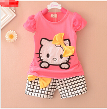 Summer Children's Cartoon hello kitty Baby Girls Sets Short sleeve T shirt+ plaid shorts suit children suit children's clothes(China)