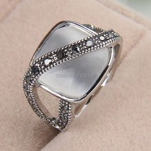 Sz 5/7/9 Noble White Gold Filled Black CZ Moonstone Women Ring  Gift Bridal Wedding  Engagement  Ring Free Shipping
