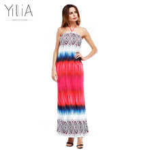 Yilia African Print Summer Strapless Beach Dress 2017 Bodycon Long Evening Maxi Elegant Wedding Party Casual Sexy Halter Pattern