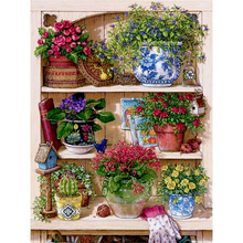 Diamond Embroidery Warm Home Flower On The Shelf DIY Diamond Paintings Mosaic Picture Pattern Cross Stitch Full Rhinestone Y257