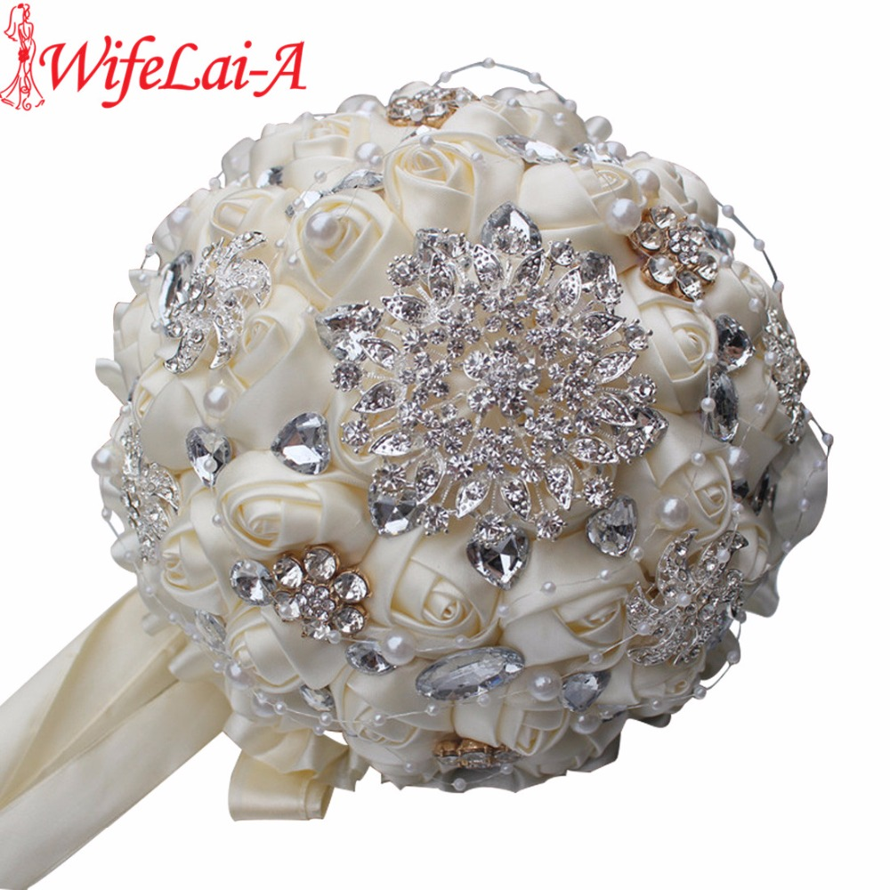 Best Selling Ivory Cream Brooch Bouquet Wedding Bouquet de mariage Polyester Wedding Bouquets Pearl Flowers buque de noiva PL001(China)