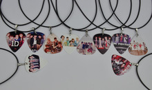 10Pcs 1D One Direction Guitar Pick Necklace , Black Leather Cord