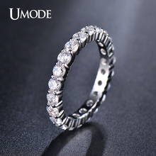 UMODE Wedding 3mm 0.1 Carat Round CZ White Gold Color Simulated Eternity Ring Bands New Jewelry for Women Bague Anillos UR0279(China)