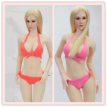 1/6 Scale Female Red/Pink Underwear Sexy Bikini Swimsuit Clothing Set Large Bust Phicen Doll Jiaoudol Action Figure Accessories