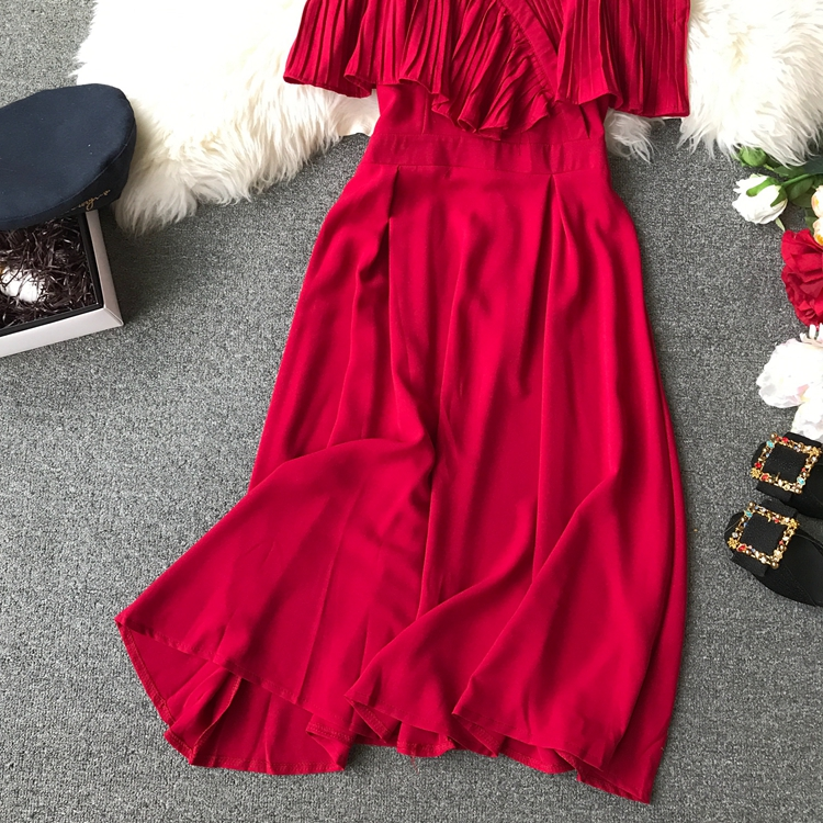 2019 Spring Women Chiffon Pleated Braces Sling Spaghetti Strap Goffer Long Dress Ladies Ruffles Empire Drapped Swing Slip Dress 174
