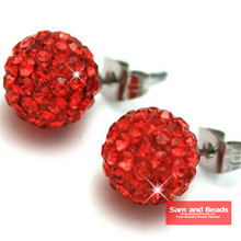 High Quality Guarantee!!! 50 Pairs/Lot,28 colors,Disco Crystal Ball Shamballa Earrings Studs Red SBE07