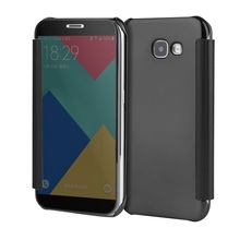 For Galaxy A5 (2017) Leather Cases Plated Mirror Surface PC Leather Smart Flip Casing for Samsung Galaxy A5 (2017) - 5.2 inch
